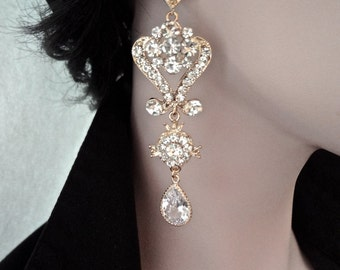Long gold chandelier earrings - Crystal rhinestones ~ Brides earrings - Statement earrings - 14k gold Sterling silver posts - Bridal jewelry