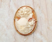 Vintage 1920s Hand Carved Shell Cameo Brooch Prong Set in a 10K Gold Oval Frame Setting
