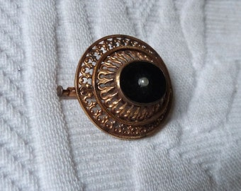 Victorian mourning jewelry brooch pin French 1800s antique onyx w pearl filigree brooch jewelry mourning pin gothic jewelry goth brooch