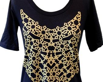 GOLD Geometric Pattern Screenprint on Black Tshirt Dress // Shine Hard //