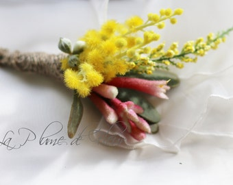Bradman - Men's Buttonhole / Boutonniere - Golden flowering wattle, Kangaroo Paw and wildflowers