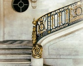 Stair Photograph, Gold Decor, Petit Trianon Photo, Versailles France, Black and Gold, Architecture Art, Feminine, Dreamy Photography