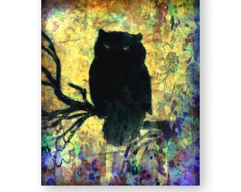 "Owl Art Print, Woodland Art Print, Silhouette Art, Mixed Media Collage, Colorful, Unique, Wildlife, ""Night Owl"""