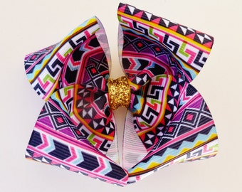 3.5 inch tribal print HAIR BOW with gold glitter- big hair bows for baby toddler girls-- back to school summer sale
