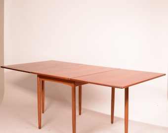 Mid Century Danish Modern Drop Leaf Dining Table by Hans C Andersen