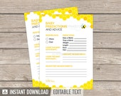 Baby Predictions and Advice Card - Bee Baby Shower - Gender Neutral - Baby Shower Game - INSTANT DOWNLOAD - Printable PDF with Editable Text