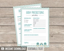 Baby Predictions and Advice card - Owl Boy Baby Shower Game - Mint Teal Chevron - INSTANT DOWNLOAD - Printable PDF with Editable Text