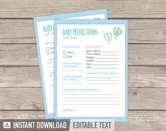 Baby Predictions and Advice Card - Hot Air Balloon Boy Baby Shower - INSTANT DOWNLOAD - Printable PDF with Editable Text