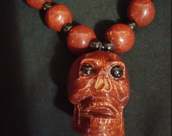Day Of The Dead Skull Necklace Rust Red Black Beads