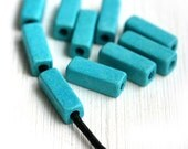 Turquoise ceramic beads, Rectangle, Tube beads, long Greek Ceramic beads for leather cord, barrel - 17x6mm - 10pc - 2299