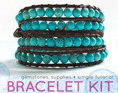 turquoise beaded leather wrap bracelet: DIY KIT supplies & tutorial - make your own bracelet