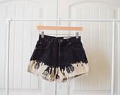 SALE vintage black highwasited cut off shorts bleached bottoms 27 inch waist