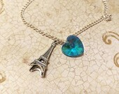 The Sophie- Paris J'adore Sterling Silver Eiffel Tower and Aquamarine Swarovski Crystal Heart Necklace