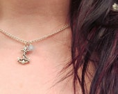 The Ariel- Nautical Sterling Anchor and Blue Air Opal Swarovski Crystal Charm Sterling Necklace