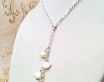 The Clara- White Freshwater Pearl and Sterling Silver Lariat Necklace