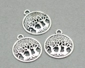 Tree of Life Charms Forest openwork Antique Silver 8pcs zinc alloy pendant beads 16mm CM0786S