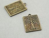 Tree of Life rectangle Charms Antique Bronze 2pcs zinc alloy pendant beads 22X31mm CM0931B