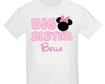Big Sister Pink Mouse Ears Personalized T Shirt