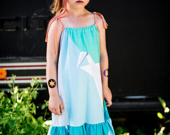 SUMMER SALE 70% ! Summer dress for kids with origami crane print, from organic cotton