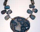 Large Blue Agate Slice with Dragon Vein Agates- and Mix Wood beads- STATEMENT Necklace
