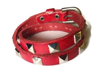 Wrap Leather Bracelet - Studded Red Wrap Leather Bracelet - Studded Wrap Buckle Bracelet