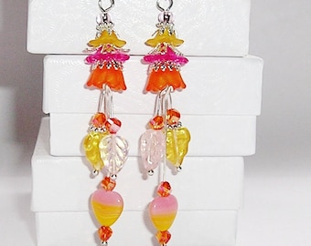 STERLING Silver ORANGE Earrings Lucite Flower Chandelier Earrings Orange, Yellow, and Pink Dangling Earrings with Swarovski Crystals