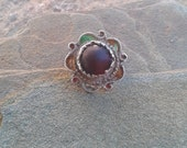 Old Moroccan Berber Red Glass & Enamel Ring  - size 60 US 9.5