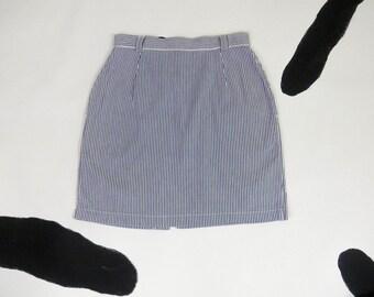 90s Calvin Klein Sport Pique Chambray Conductor Mini Skirt / Preppy / Op Art / Clueless / Denim / Size 10 / High Waist / Party Girl / Beach