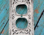 Shabby Chic Creamy White Cast Iron Double Outlet Cover - Darling addition to your cottage, farmhouse or shabby chic décor!