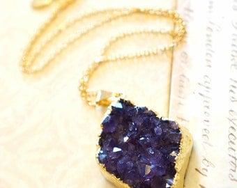 Luminous Amethyst Druzy Cluster Necklace, Druzy Jewelry, Geode Druzy