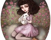 Whispers of Wonderland - A4 Limited Edition Fine Art Print - Inspired by Alice in Wonderland, Rabbits, and Classic Fairytales