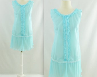 La Coquette Nightie - Vintage 1960s Robins Egg Blue Babydoll Nightgown - Small Medium by Slumber Suzy