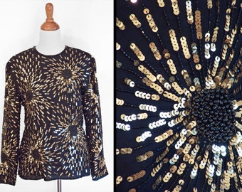 Sequin STARBURST Blouse Black Beads Metallic Gold 1980s Top Stenay Medium