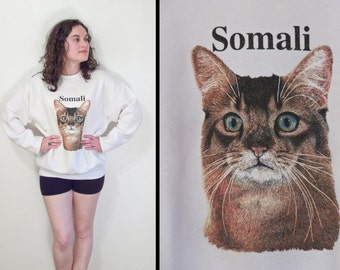 SOMALI Cat Sweatshirt 1990s Pullover White Kitty Lovers Size M L