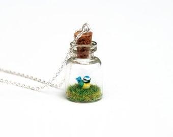 Blue Tit Terrarium Necklace; Mother's Day Gardener Gift, Bird, Nature, Spring, Miniature Bird Necklace, Woodland - 2cm jar, 16 inch chain