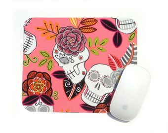 Sugar Skull Mouse Pad / Day of the Dead / Pink Calaveras / Office Home Decor / Alexander Henry Folklorico / Mexican Latin America