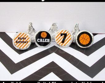 Basketball Chocolate Kiss Stickers - Basketball Stickers - Sports Stickers - Sports Candy Kiss Sticker - DIGITAL and PRINTED