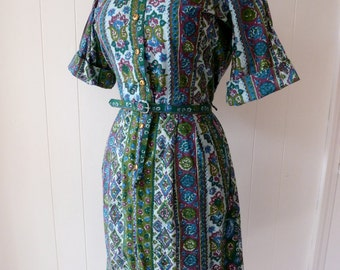 50's Shirt Dress Paisley Indian Print Cotton Shirt Waist Button Front Dress L XL