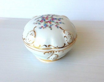 Rosenthal white gold decorated trinket dish, flowers and gold ornated trinket box, porcelain trinket dish, moliere design