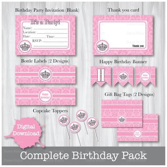 happy birthday crown template - pink crown birthday party pack princess happy birthday diy