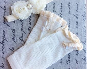 baby girl legwarmers lace leg warmers white ivory leg warmers ivory knit lace trim legwarmers photo prop baby legwarmers