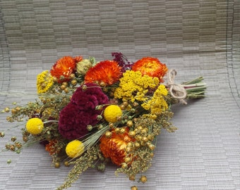 Dried Flower Bouquet Fall Colors Wedding Flowers