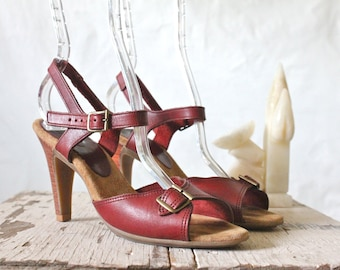 Vintage 70's Oxblood Stacked Leather Heels Sz 7N