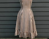 vintage metallic gingham mermaid dress . 50s 60s picnic party
