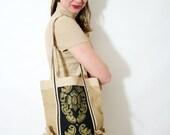 Vintage Ethnic Carrying Jute Tote Gold Screen Print Eco Friendly Burlap Bag