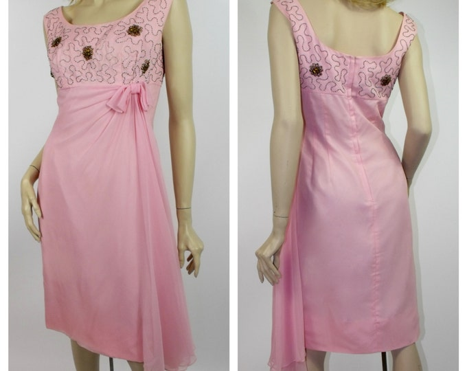 1960's Pink Silk Chiffon and Taffeta Wiggle Dress // Beaded Chiffon Dress // Size 6 to 8