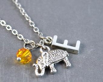 Thai Elephant, Silver Elephant Charm, Elephant Necklace, Birthstone Necklace, Initial Jewelry, Personalized Necklace, Elephant Jewelry
