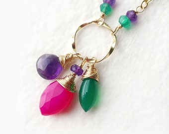 Hot Pink Gold Necklace, Gemstone Drop Pendant Necklace, Pink Green Wire Wrapped Gold Filled Necklace, Chalcedony Amethyst Onyx Necklace