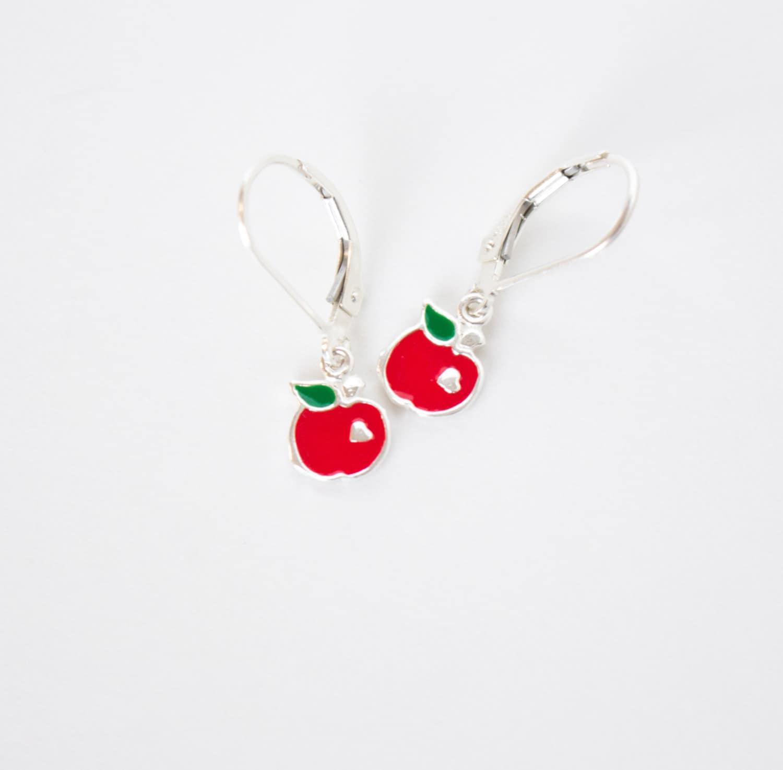 earrings apple children s apple earrings enamel