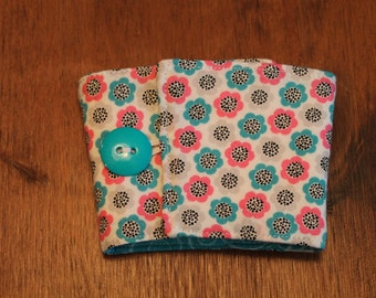 Fabric Coffee Cozy -Pink, Teal, Black and White Floral, Fits Starbucks to-go cup, Iced Coffee - Fabric Coffee Sleeve - Cotton - Eco Friendly